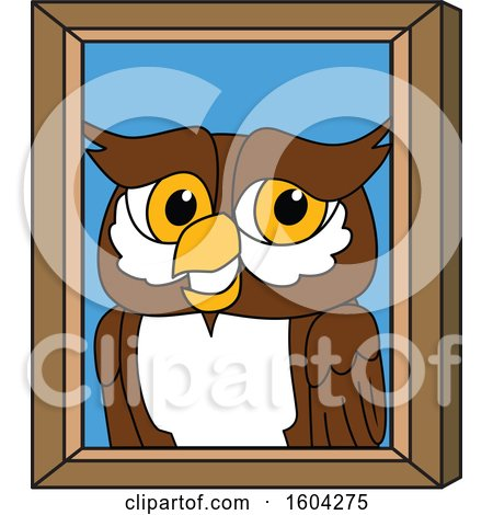 Clipart of a Brown and White Owl School Mascot Character Portrait - Royalty Free Vector Illustration by Toons4Biz