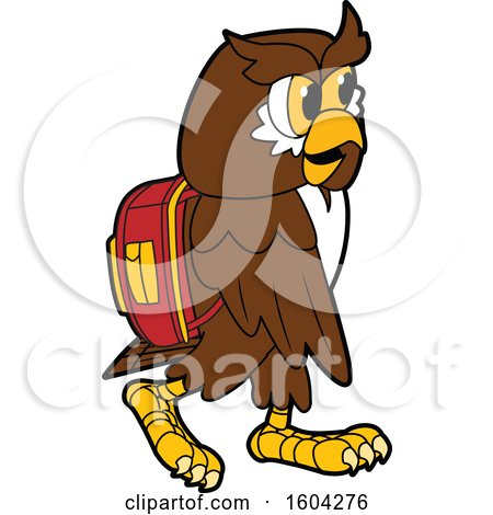 Clipart of a Brown and White Owl School Mascot Character Wearing a Backpack - Royalty Free Vector Illustration by Toons4Biz