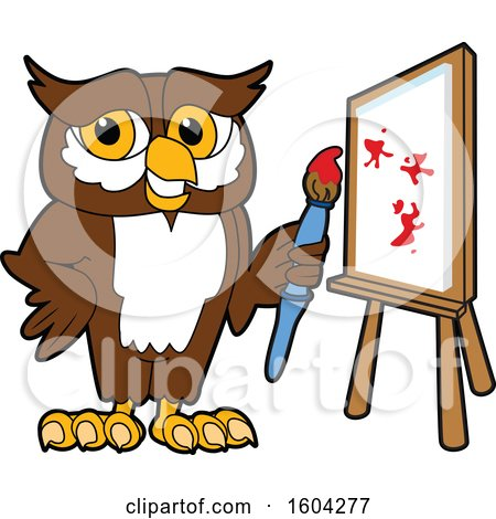Clipart of a Brown and White Owl School Mascot Character Painting a Canvas - Royalty Free Vector Illustration by Toons4Biz