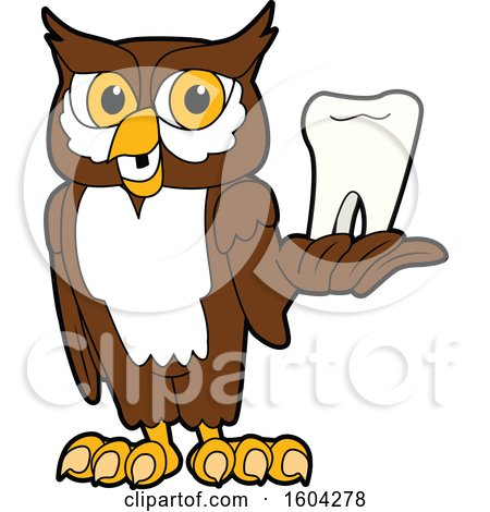 Clipart of a Brown and White Owl School Mascot Character Holding a Tooth - Royalty Free Vector Illustration by Toons4Biz