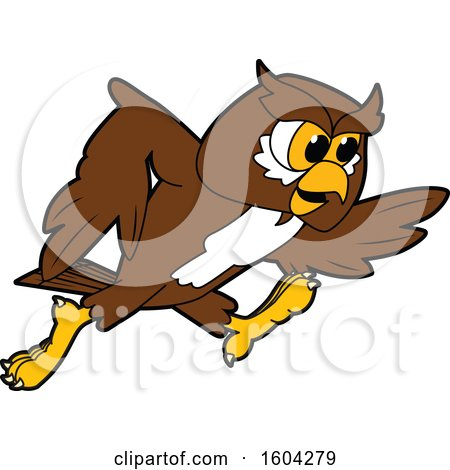 Clipart of a Brown and White Owl School Mascot Character Running - Royalty Free Vector Illustration by Toons4Biz