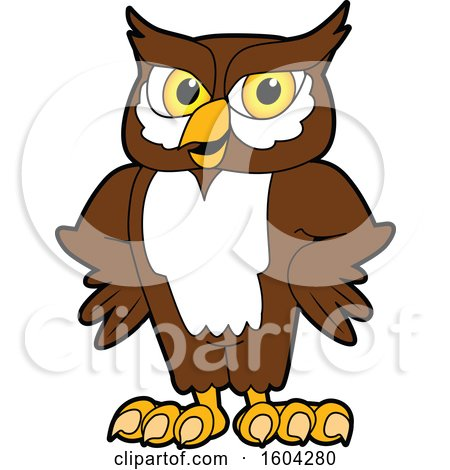 Clipart of a Brown and White Owl School Mascot Character with Hands on His Hips - Royalty Free Vector Illustration by Toons4Biz