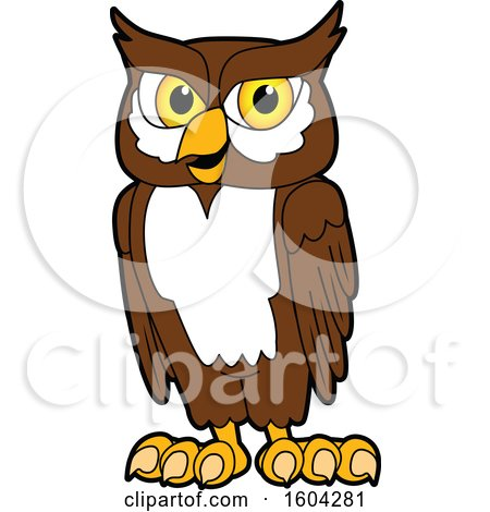 Clipart of a Brown and White Owl School Mascot Character - Royalty Free Vector Illustration by Toons4Biz