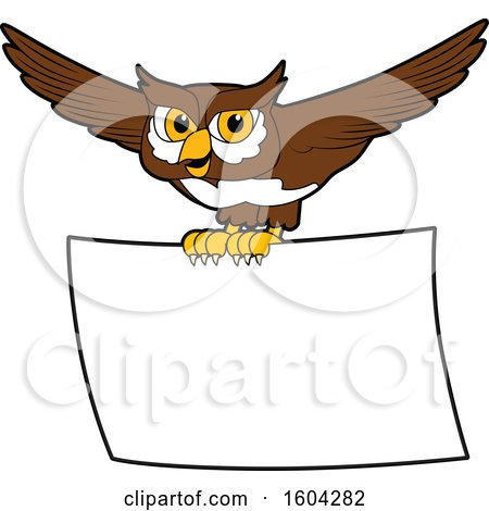 Clipart of a Brown and White Owl School Mascot Character Flying with a Banner - Royalty Free Vector Illustration by Toons4Biz