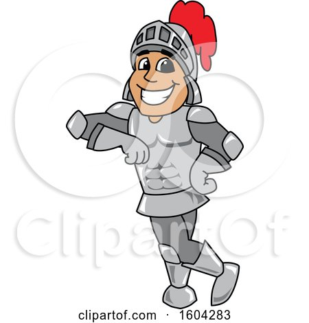 Clipart of a Knight School Mascot Character Leaning - Royalty Free Vector Illustration by Toons4Biz