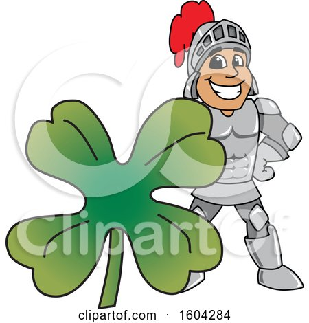 Clipart of a Knight School Mascot Character with a St Patricks Day Clover - Royalty Free Vector Illustration by Toons4Biz