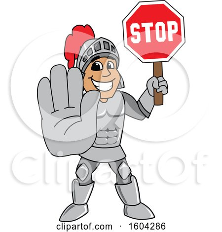 Clipart of a Knight School Mascot Character Holding a Stop Sign - Royalty Free Vector Illustration by Toons4Biz