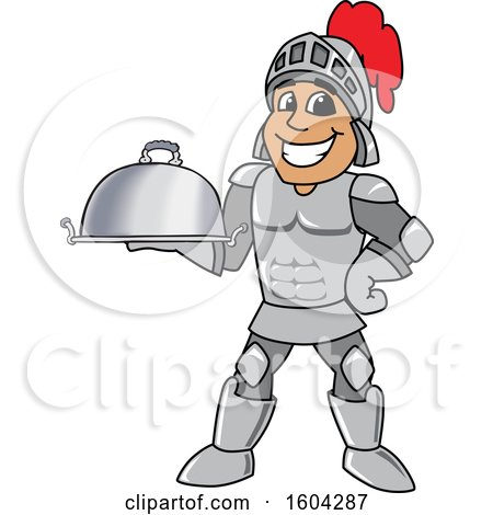 Clipart of a Knight School Mascot Character Holding a Platter - Royalty Free Vector Illustration by Toons4Biz