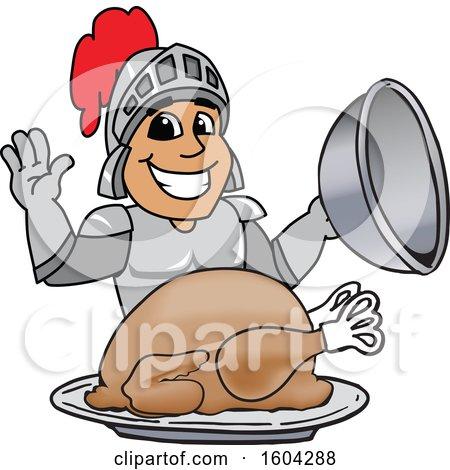 Clipart of a Knight School Mascot Character Serving a Thanksgiving Turkey - Royalty Free Vector Illustration by Toons4Biz