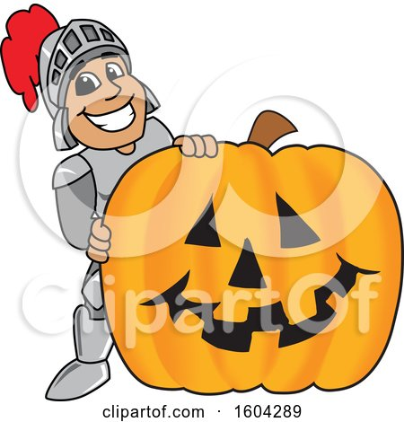 Clipart of a Knight School Mascot Character with a Halloween Pumpkin - Royalty Free Vector Illustration by Toons4Biz