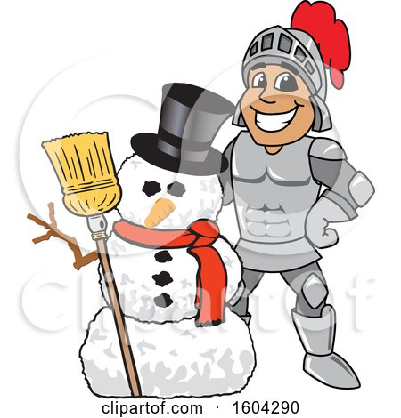 Clipart of a Knight School Mascot Character with a Christmas Snowman - Royalty Free Vector Illustration by Toons4Biz