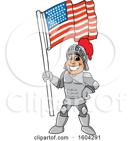 Clipart of a Knight School Mascot Character Holding an American Flag - Royalty Free Vector Illustration by Toons4Biz