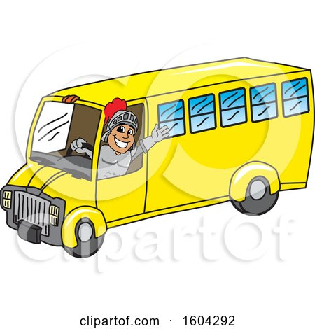 Clipart of a Knight School Mascot Character Driving a School Bus - Royalty Free Vector Illustration by Toons4Biz