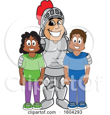 Clipart of a Knight School Mascot Character with Students - Royalty Free Vector Illustration by Toons4Biz