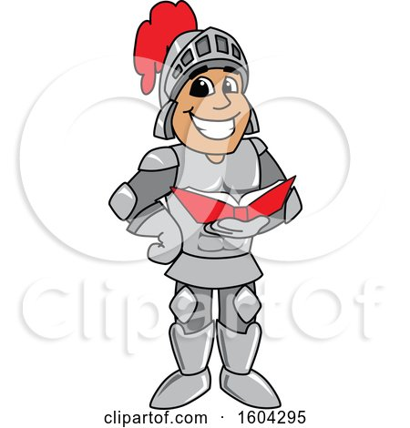 Clipart of a Knight School Mascot Character Reading a Book - Royalty Free Vector Illustration by Toons4Biz