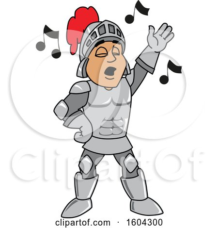 Clipart of a Knight School Mascot Character Singing - Royalty Free Vector Illustration by Toons4Biz