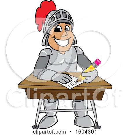 Clipart of a Knight School Mascot Character Writing at a Desk - Royalty Free Vector Illustration by Toons4Biz