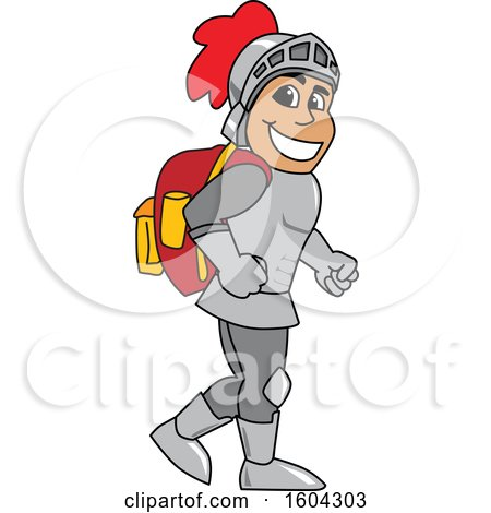 Clipart of a Knight School Mascot Character Wearing a Backpack - Royalty Free Vector Illustration by Toons4Biz