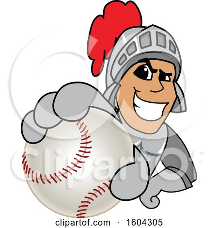 Clipart of a Knight School Mascot Character Grabbing a Baseball - Royalty Free Vector Illustration by Toons4Biz