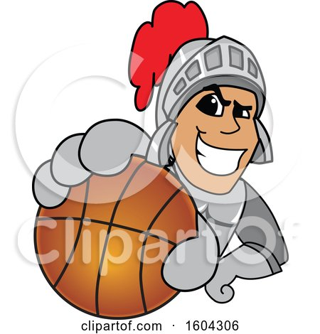 Clipart of a Knight School Mascot Character Grabbing a Basketball - Royalty Free Vector Illustration by Toons4Biz