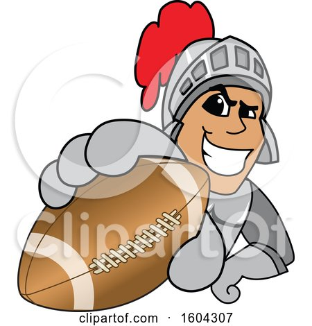 Clipart of a Knight School Mascot Character Grabbing a Football - Royalty Free Vector Illustration by Toons4Biz