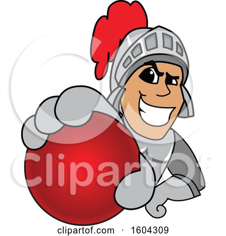 Clipart of a Knight School Mascot Character Grabbing a Cricket Ball - Royalty Free Vector Illustration by Toons4Biz