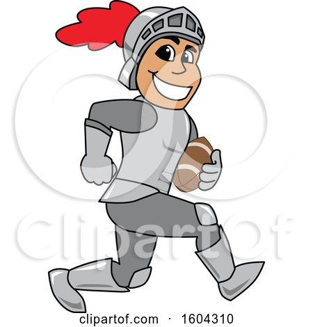 Clipart of a Knight School Mascot Character Playing Football - Royalty Free Vector Illustration by Toons4Biz