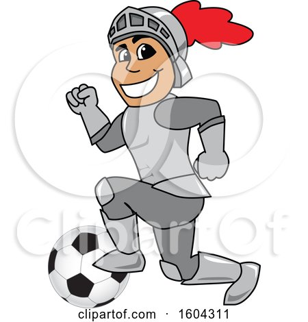 Clipart of a Knight School Mascot Character Playing Soccer - Royalty Free Vector Illustration by Toons4Biz