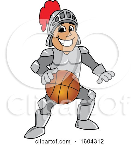 Clipart of a Knight School Mascot Character Playing Basketball - Royalty Free Vector Illustration by Toons4Biz