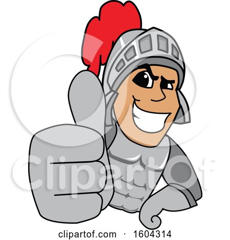 Clipart of a Knight School Mascot Character Holding a Thumb up - Royalty Free Vector Illustration by Toons4Biz