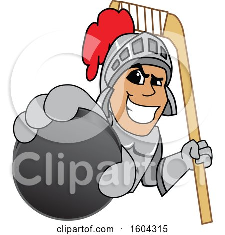 Clipart of a Knight School Mascot Character Holding a Hockey Puck and Stick - Royalty Free Vector Illustration by Toons4Biz