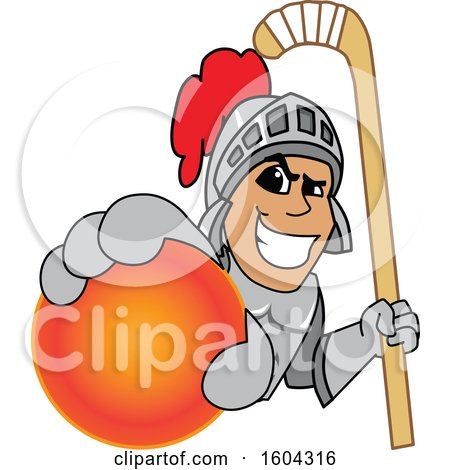 Clipart of a Knight School Mascot Character Holding a Hockey Ball and Stick - Royalty Free Vector Illustration by Toons4Biz