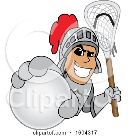 Clipart of a Knight School Mascot Character Holding a Lacrosse Ball and Stick - Royalty Free Vector Illustration by Toons4Biz