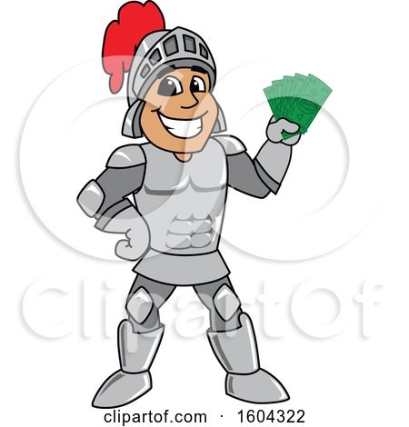 Clipart of a Knight School Mascot Character Holding Cash Money - Royalty Free Vector Illustration by Toons4Biz