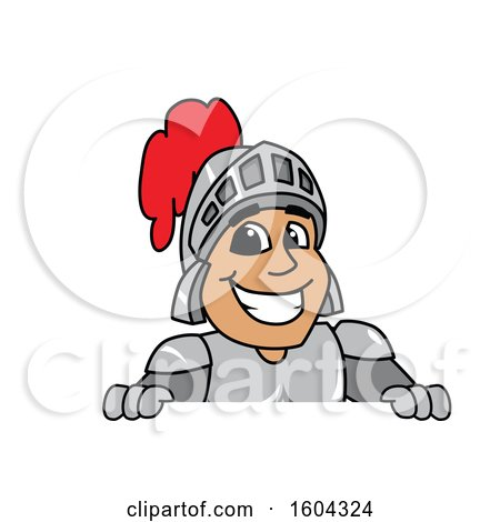 Clipart of a Knight School Mascot Character over a Sign - Royalty Free Vector Illustration by Toons4Biz