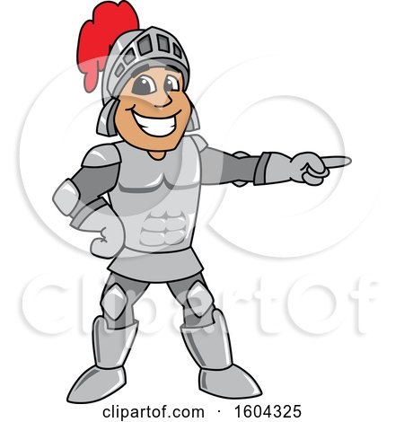 Clipart of a Knight School Mascot Character Pointing - Royalty Free Vector Illustration by Toons4Biz