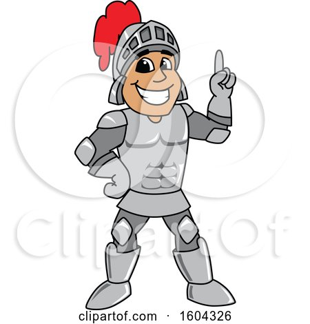 Clipart of a Knight School Mascot Character Holding up a Finger - Royalty Free Vector Illustration by Toons4Biz
