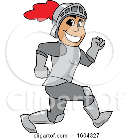 Clipart of a Knight School Mascot Character Running - Royalty Free Vector Illustration by Toons4Biz
