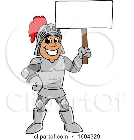 Clipart of a Knight School Mascot Character Holding a Blank Sign - Royalty Free Vector Illustration by Toons4Biz