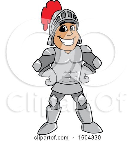 Clipart of a Knight School Mascot Character with Hands on His Hips - Royalty Free Vector Illustration by Toons4Biz