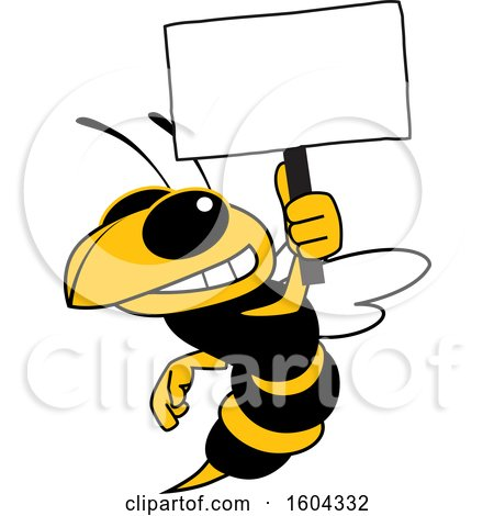 Clipart of a Hornet or Yellow Jacket School Mascot Character Holding a Blank Sign - Royalty Free Vector Illustration by Toons4Biz