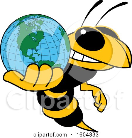 Clipart of a Hornet or Yellow Jacket School Mascot Character Holding a Globe - Royalty Free Vector Illustration by Toons4Biz
