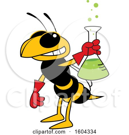 Clipart of a Hornet or Yellow Jacket School Mascot Character Holding a Science Flask - Royalty Free Vector Illustration by Toons4Biz