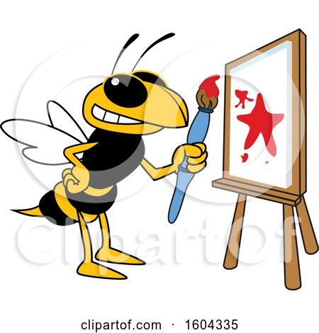Clipart of a Hornet or Yellow Jacket School Mascot Character Painting a Canvas - Royalty Free Vector Illustration by Toons4Biz