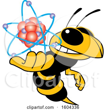 Clipart of a Hornet or Yellow Jacket School Mascot Character Holding an Atom - Royalty Free Vector Illustration by Toons4Biz