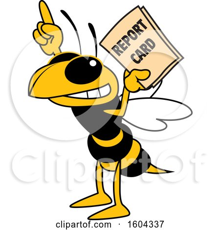 Clipart of a Hornet or Yellow Jacket School Mascot Character Holding a Report Card - Royalty Free Vector Illustration by Toons4Biz