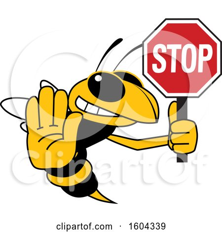 Clipart of a Hornet or Yellow Jacket School Mascot Character Holding a Stop Sign - Royalty Free Vector Illustration by Toons4Biz