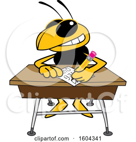 Clipart of a Hornet or Yellow Jacket School Mascot Character Writing at a Desk - Royalty Free Vector Illustration by Toons4Biz