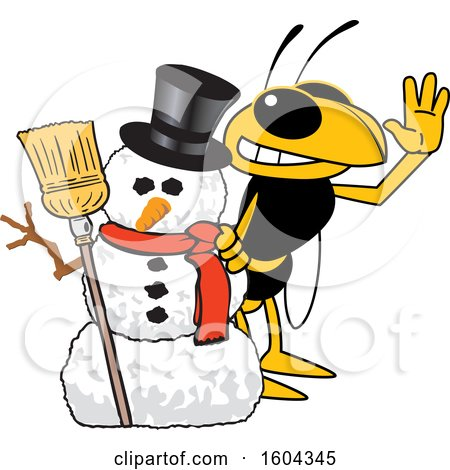 Clipart of a Hornet or Yellow Jacket School Mascot Character with a Christmas Snowman - Royalty Free Vector Illustration by Toons4Biz