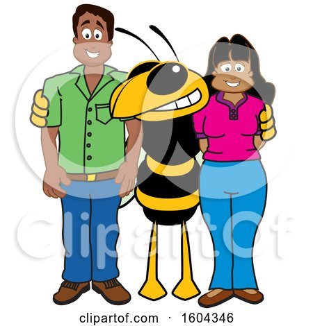 Clipart of a Hornet or Yellow Jacket School Mascot Character with Parents - Royalty Free Vector Illustration by Toons4Biz